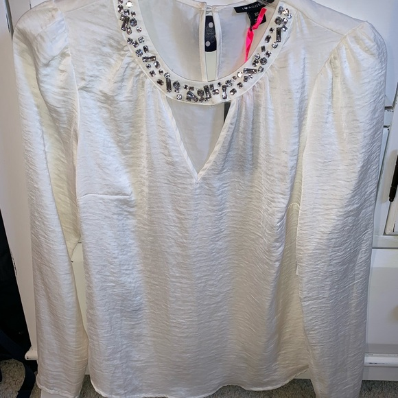 Tops - ⚪️White/Cream chiffon bedazzled dress shirt NWT